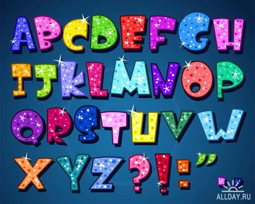 Веселые шрифты #3 - Векторный клипарт