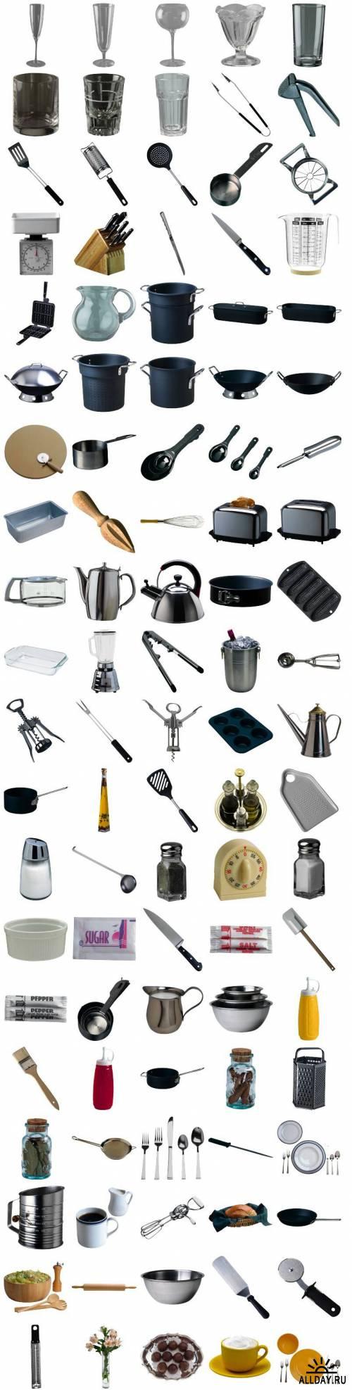 Растровый клипарт - Кухонная посуда и принадлежности (AV PO002 Kitchen Tools)