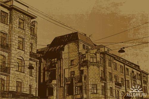 Stock Vector: House in grunge style | Дом в гранжевом стиле