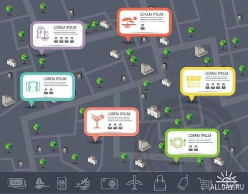 Инфографика элементы для путешествия в векторе | Infographics elements for travel in vector from stock - 25 Eps
