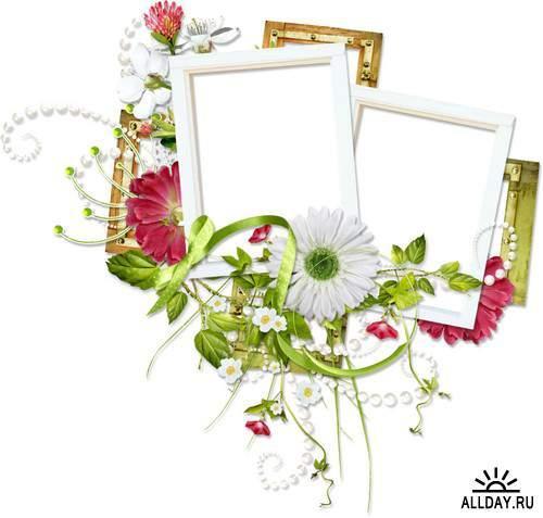 Цветочный декор - рамочки и кластеры на прозрачном фоне