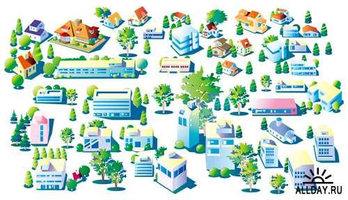 Городские строения - Векторный клипарт | Town buildings - Stock Vectors