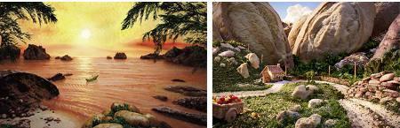 Разнообразные композиции из продуктов питания.