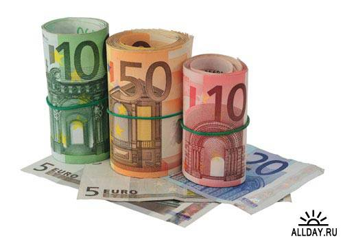 Stock Photo: Roll of euro banknotes | Пачка свернутых купюр евро