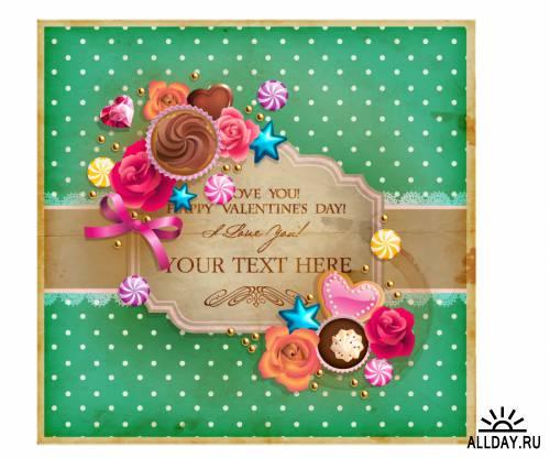 Valentine's Day vintage frame