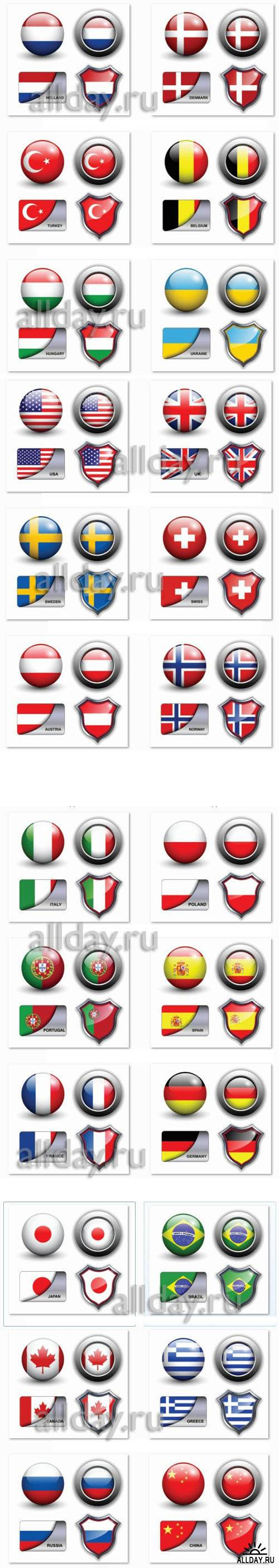 Flags - buttons and banners vector