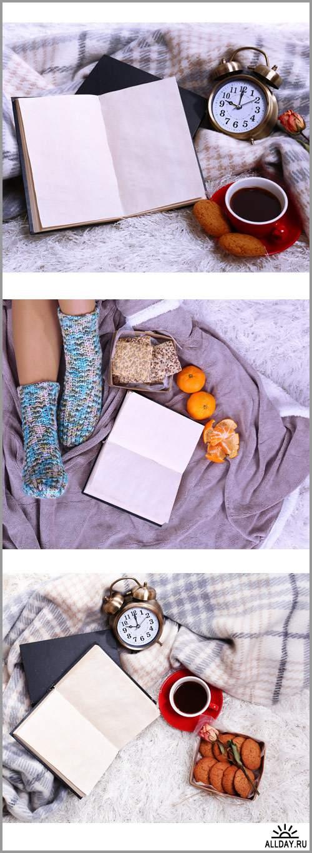 Композиция с теплым пледом, книги, чашка горячего напитка и женщина - Растровый клипарт