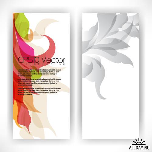 Abstract banners with elegant leaves