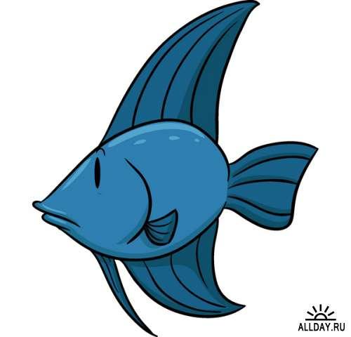 Мультяшные морские обитатели (подборка вектора)