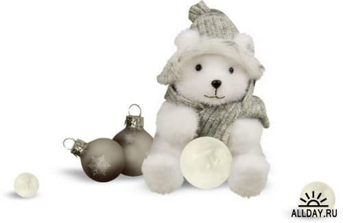 Рождественские узоры - праздничный декор на прозрачном фоне