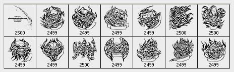 Flaming Skull Tattoos Photoshop Brushes