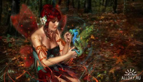 Рисованые обои - Девушки фэнтези