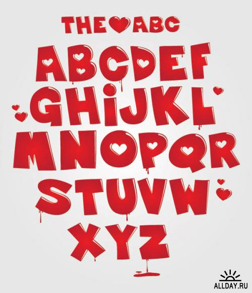 Heart-shaped letters vector