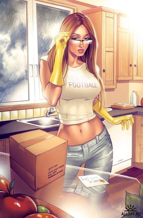 Рисованные девушки - Комикс Арт