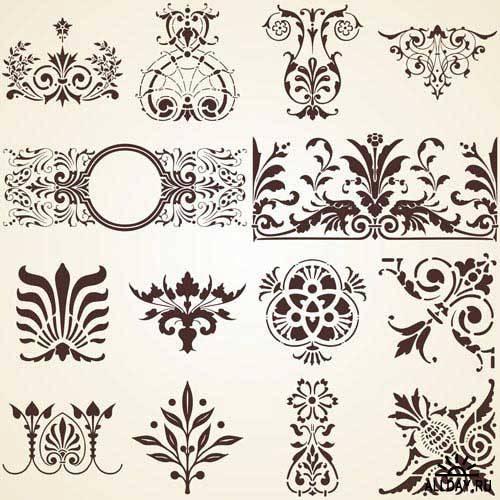 Каллиграфические элементы для дизайна. Вып.16 | Calligraphic design elements. Set.16