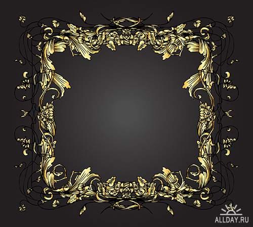 Векторный клипарт - Золотые рамки