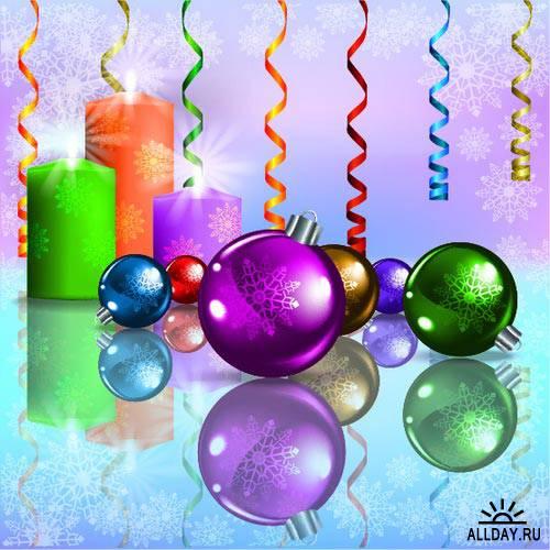 Background with Christmas decorations 12 | Фон с новогодними украшениями 12