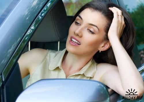 Beautiful woman in the car