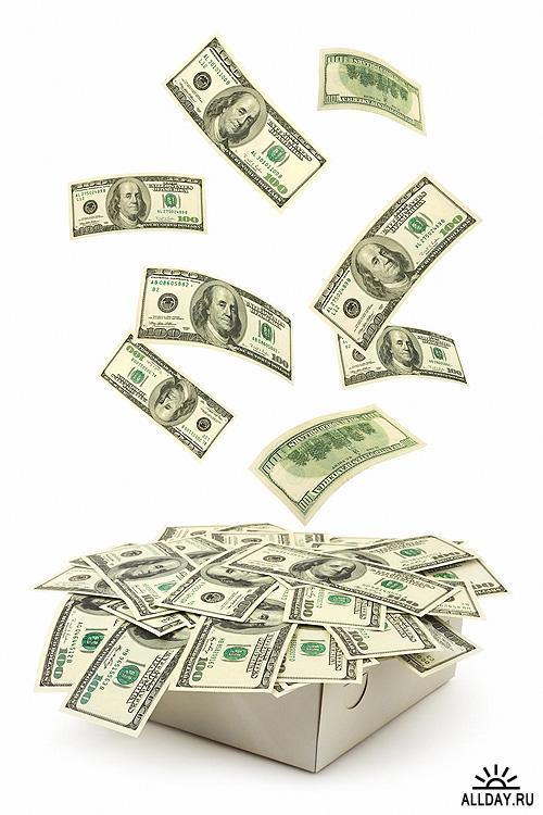 Сток. Тема: деньги (на белом фоне)
