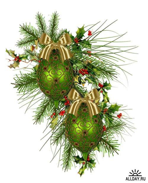 Зелёный ёлочный декор - зелёные ёлочные украшения и композиции