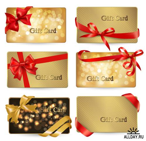 Festive cards with ribbons and bows