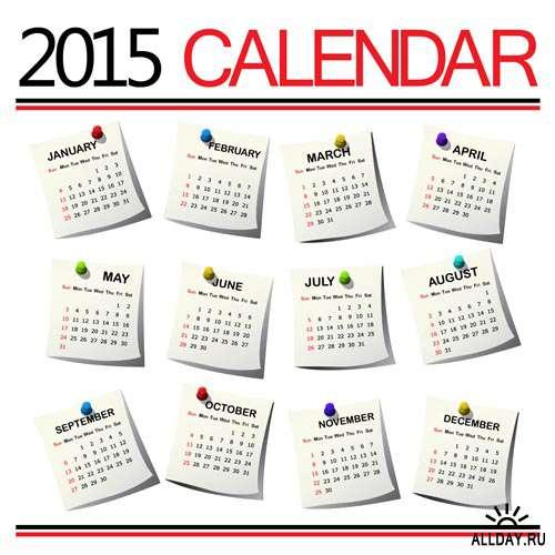 Календарные сетки 2015 #1 - Векторный клипарт