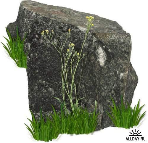 Stone, rocks and cliff   Камень, камни и утес - Набор элементов для коллажей