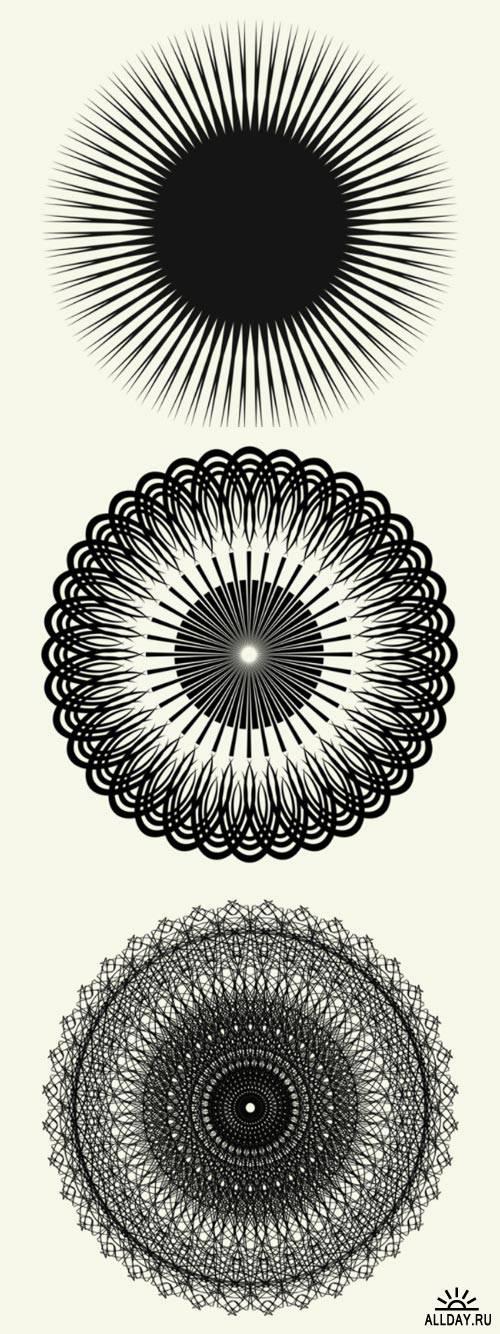 Радиальные векторные кружева. Кисти и Изображения