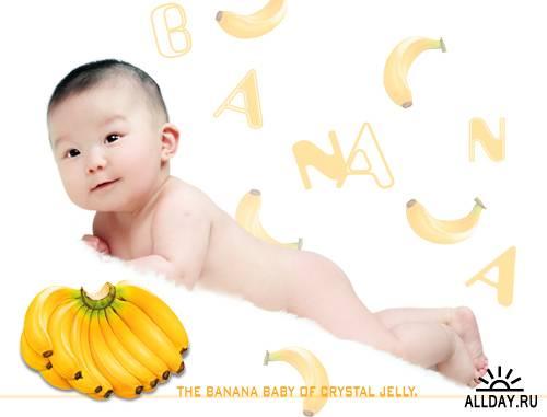 PSD Исходники - Ребенок и фрукты