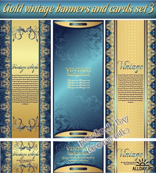 Золотые винтажные баннеры и визитные карточки - 3