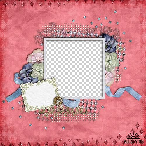 Набор винтажных скрап-страничек и графических элементов
