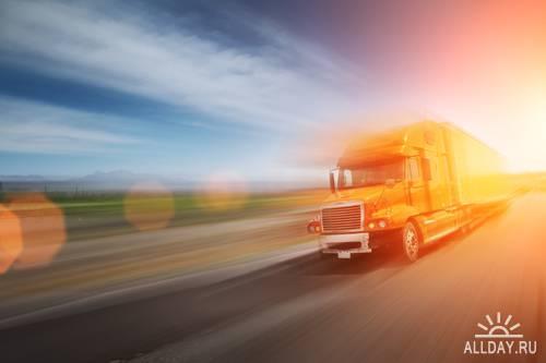 Stock Photo: Truck on freeway | Грузовик на автостраде