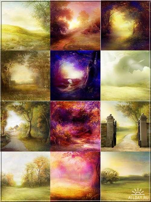 Волшебная осень - сказочно красивые осенние фоны для графических работ