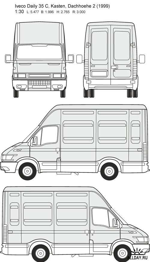Автомобили Iveco - векторные отрисовки в масштабе