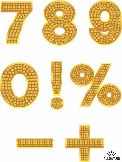 Precious gold alphabet and numbers  | Драгоценные и золотые алфавиты и цифры