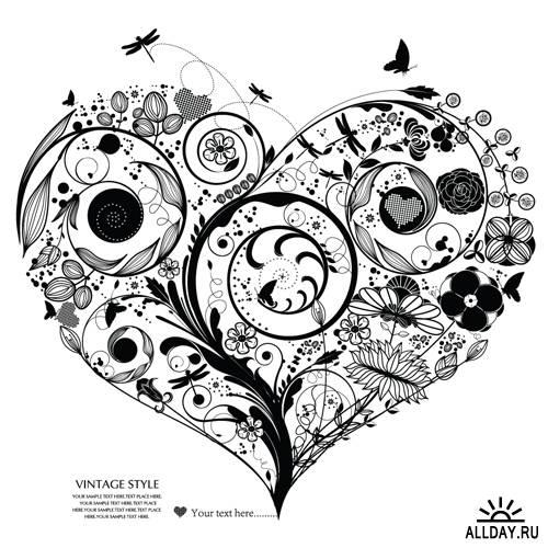 Цветочные сердца - Векторный клипарт | Floral hearts - Stock Vectors