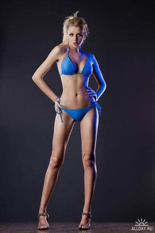 Elegant girl in blue lingerie