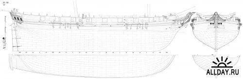 Чертежи корабля бриг Ле Сигне