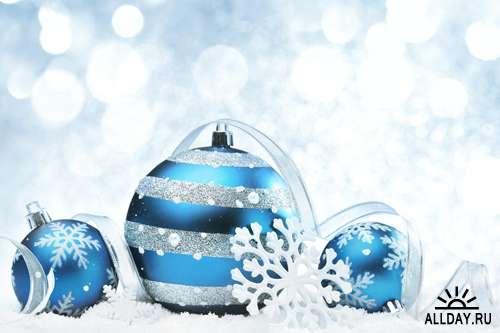 Голубые новогодние композиции - Растровый клипарт | Xmas Blue Compositions - UHQ Stock Photo