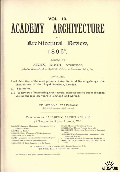 Academy architecture and architectural review. vol. 8-10