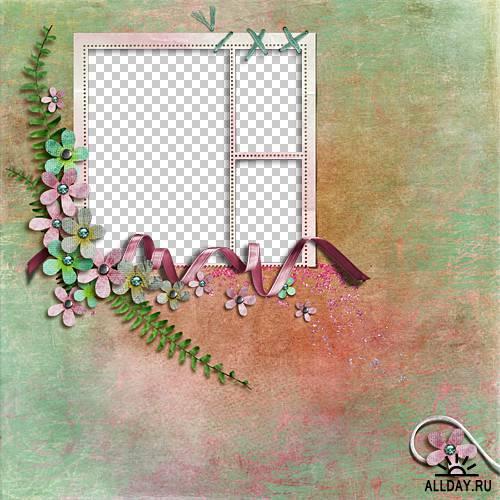 Набор цветочно-винтажных скрап-страничек