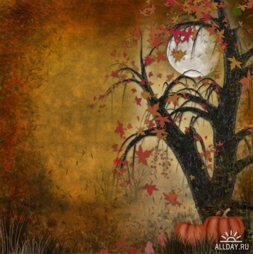 Красивые осенние фоны с тыквами
