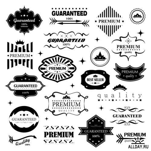 Retro Design Elements. Labels In Retro Style Isolated On White Background 1-3
