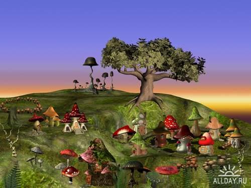 PSD - fabulous backgrounds | Волшебная сказка - фоны, замки и герои