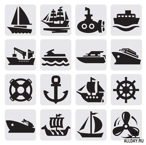Силуэты транспорта - Векторный клипарт | Transportation silhouettes - Stock Vectors