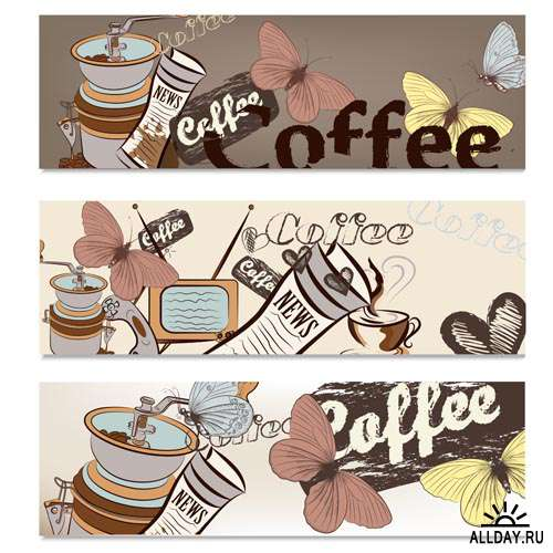 Кофейные Дизайны #10 - Векторный клипарт