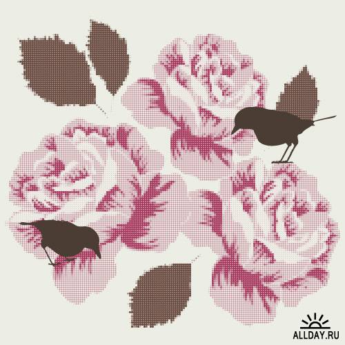 Romantic background with birds and roses