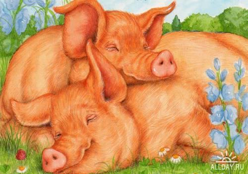 Открытки с рисованными животными