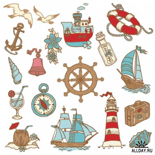 Doodle sea icons