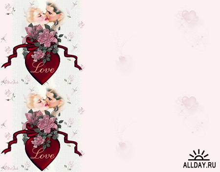 есшовные фоны с бордюрами - День Святого Валентина